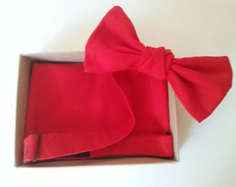 Bow Tie & Pocket Square - Ready made, adjustable; Gift packaged