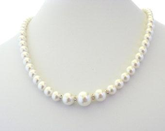 Pearl Bridal Necklace, Pearl Wedding Necklace, Pearl and Rhinestone Necklace, Bridesmaid Pearl Necklace Wedding, Swarovski Pearl Necklace