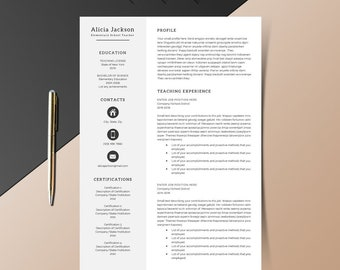 4 page Teacher Resume Template Cover Letter Template for MS Word | DIY Printable | Modern Resume | Professional and Creative Design
