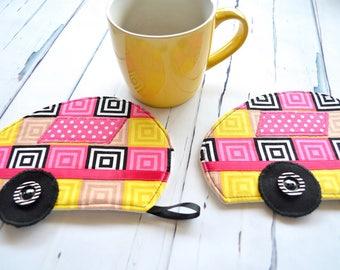 Caravan coaster pair, quirky mug rugs, novelty retirement gift, drink mats, funky tableware