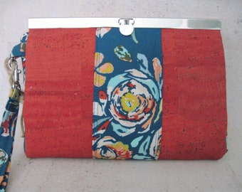 Handcrafted Cork leather organizer wallet, clutch, wristlet MADE TO ORDER