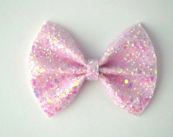 Pastel Baby Pink Glitter Bow Photo Prop Pictures Headband for Newborn Baby Little Girl Child Adult Spring Summer Valentines Easter Clip
