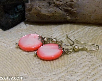 Mother Of Pearl Pink Shell Silver Dangle Earrings