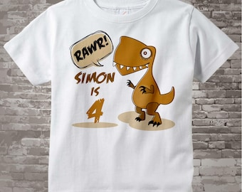4th Dinosaur Birthday Shirt, Personalized Dino Birthday Shirt with Child's Name and age,Fourth Birthday shirt 01082014c
