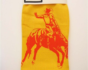 Cowboy Kitchen Towel - Red on Yellow