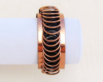 Vintage copper cuff bracelet by Renoir, 1950's Modernist copper bracelet with applied coiled wire