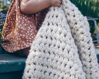 The Willow Blanket in Large, Textured Baby Blanket, Hand Crochet Baby Blanket, Chunky Knit Blanket, Baby Throw Blanket, Blankets and Throws
