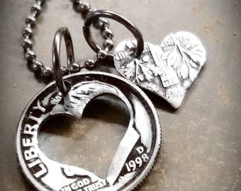 1998 20th Birthday Dime Heart Necklace 20th Anniversary 20th Birthday Gift Coin Jewelry made from a 1998 Dime +