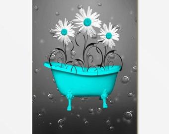 Aqua Gray Bathroom Decor, Daisy Flowers, Bubbles Decorative Floral Bath Artwork Home Decor Matted Picture
