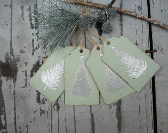 Christmas gift tags,gift tags,gift wrap,hand made labels, christmas tree, embossed tags, holiday tags, rustic tags, xmas gift wrap,