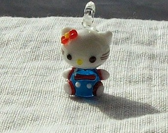 SALE - Blue and White Glass Kitty Charm - 25 x 15 mm