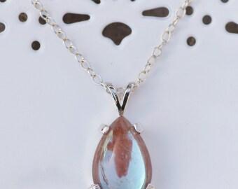 ANTIQUE Victorian Saphiret Pendant Necklace,Genuine Vintage Saphiret Cabochon,Sterling Silver Pear Teardrop Pendant,Large,Antique,Gift