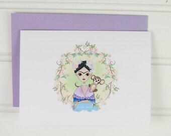 Frida Kahlo Note Card Set, Frida Kahlo Stationery, Set of 4 Frida Kahlo Cards, Gift for Artist, Frida Fan, Kahlo Notecard, Frida Kahlo Stamp