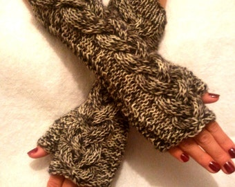 Fingerless Gloves Tweed Cabled  Wrist Warmers in Brown and White