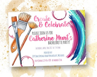 Create & Celebrate Paint Party Invitation, Paint and Sip Invite, Girls Night Invitation Wine and Art
