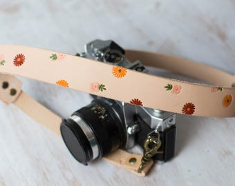 Flower Camera Strap, Leather camera strap, Colorful, painted, Womens neck strap