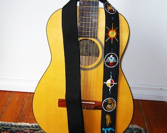 Siouxian Motif Guitar Strap- Custom Hand Embroidered with Initials- Oglala Sioux/Native Mandala/Tribal Native Strap