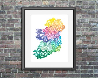 Ireland typography map art unframed poster print wall decor housewarming gift home decor going away gift rainbow country