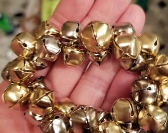 Silver and gold jingle bell bracelet,Jingle bells bracelet,stretch bracelet,sleigh bells bracelet,Christmas bracelet