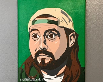 "8""x10"" ORIGINAL ""..."" Jay and SILENT BOB acrylic pop art painting - Kevin Smith Comic Book Men Clerks Mallrats Chasing Amy 1990's indie film"