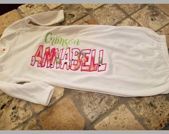 Baby gown, personalized, baby girl sleeper outfit for pictures