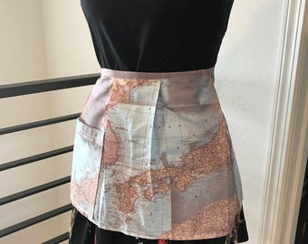 Maps of Asia - Bistro style apron with pleats and one pocket