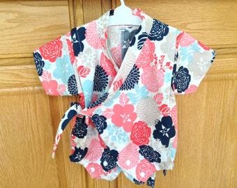 Flower Kimono Romper, Baby Kimono Onesie, Baby Kimono Bodysuit, Baby Kimono, Baby Jinbei,  0-3 Mo, 3-6 Mo, 6-12 Mo