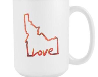 Love Idaho State Flag Map Outline 15oz Mug