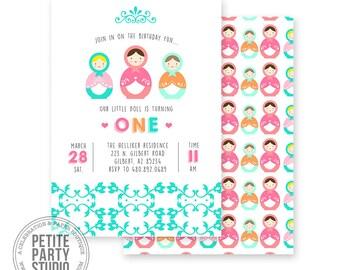 Babushka Doll Matryoshka Printable Party Invitation - Birthday or Baby Shower - Petite Party Studio
