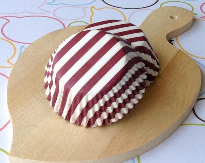 Maroon Stripe Standard Cupcake Liners