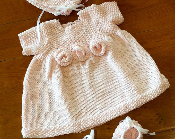 Featured listing image: French Rosette Baby Dress Knitting Pattern PDF