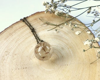 Real Dandelions Encased in a Resin Ball Necklace,Bridesmaid Gift, Birthday Gift, Gift For Her, Wedding Gift