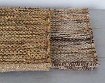 KLEINER Gewebt Flickenteppich, Handgewebten Teppich, Gelb, Bronze, Braun,  Handgewebten Teppich,