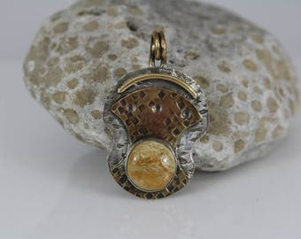 AFOSSIL CORAL PENDANT - (No Chain Included) Handcrafted - Mixed Metal -  Sterling Silver - Brass - Free Shipping