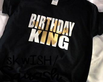 Birthday Boy Shirt, Birthday King Shirt, Birthday Shirt with Crown, Boy's Birthday Shirt, Birthday Party Shirt, Black Birthday Shirt