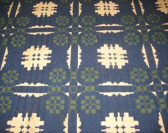 Vintage American Blue & Green Double Piece Coverlet c.1820- 1850