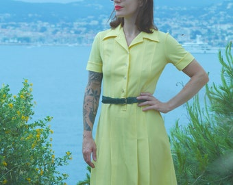 Dress Vintage 70's Retro Vintage DIOLEN Loft design yellow French pinup