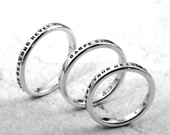 Gift for Her, Personalized custom ring in sterling silver, choose your message, by Kathryn Riechert (Tiny Text)