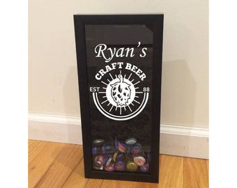 """Bottle Cap Holder Shadow Box - Custom Name - Craft Beer with Hops - Black (6"""" x 14"""") - Vinyl Decal Gifts, Home Bar Accessories"""