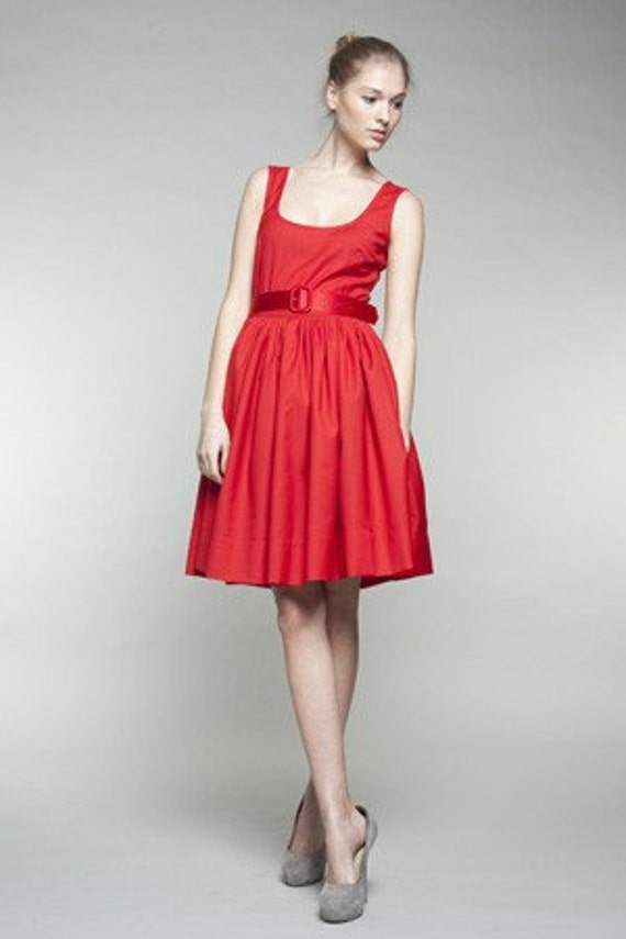 red Full party skirt dress skirt red dresses Red dress Pleated 1950 dress Pleated red dress dress Wool Womens Belted dress dress ptwdqRPw