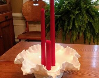 Vintage Fenton Milk Glass Hobnail Candleholder Bowl