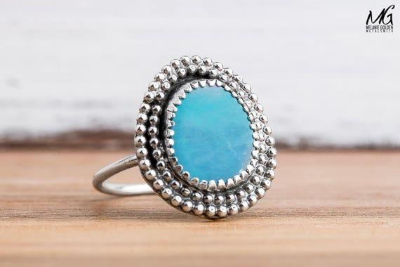 Blue Boulder Opal Gemstone Ring in Sterling Silver - Size 6