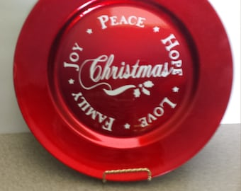 Decorative Large Red Christmas Plate