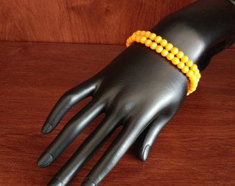 Light Orange Elastic Beaded Bracelet Set of Two 6mm Plastic Resin Beads
