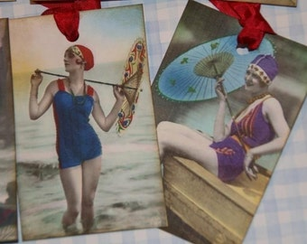 Flapper Swimsuit Gals With Parasols Gift Tags