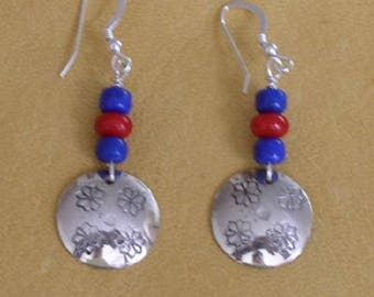 Sterling Silver Disc Earrings with Lapis & Bamboo Coral
