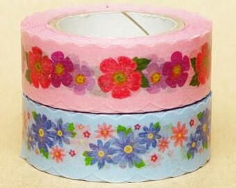 NamiNami Washi Masking Tape - Pink & Blue Flower Illustration