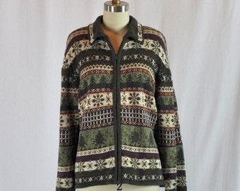 Vintage 70s Fair Isle Sweater | Zip Up Sweater | Large
