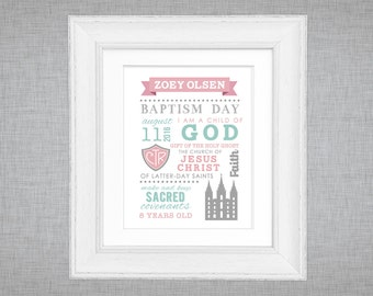 LDS baptism printable - poster or sign  - subway word art - girls baptism gift - choose the right - CTR - mint pink grey gray