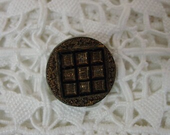 Antique Black Glass Button Gold Luster, Windowpane Design, Nice